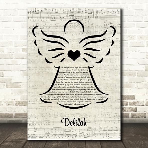 Tom Jones Delilah Music Script Angel Decorative Wall Art Gift Song Lyric Print