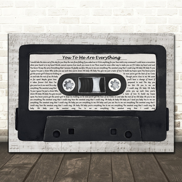 The Real Thing You To Me Are Everything Music Script Cassette Tape Wall Art Gift Song Lyric Print