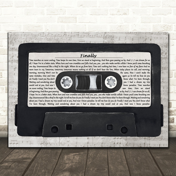 Kings of Tomorrow Finally Music Script Cassette Tape Decorative Wall Art Gift Song Lyric Print
