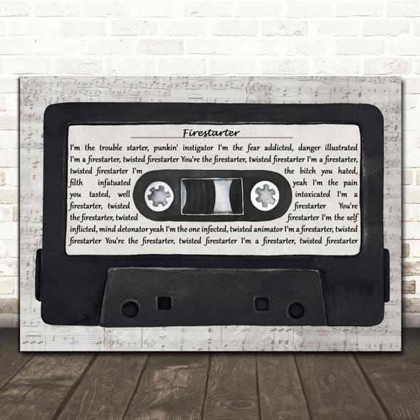 The Prodigy Firestarter Music Script Cassette Tape Decorative Wall Art Gift Song Lyric Print