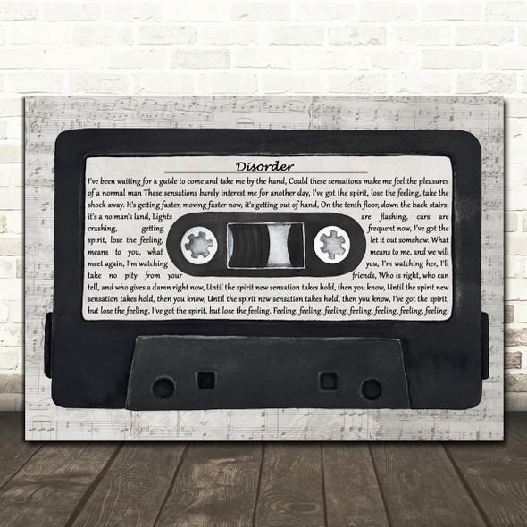 Joy Division Disorder Music Script Cassette Tape Decorative Wall Art Gift Song Lyric Print