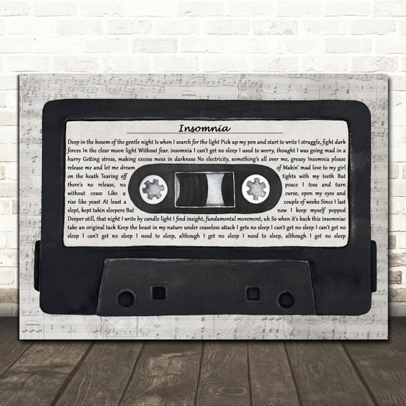 Faithless Insomnia Music Script Cassette Tape Decorative Wall Art Gift Song Lyric Print