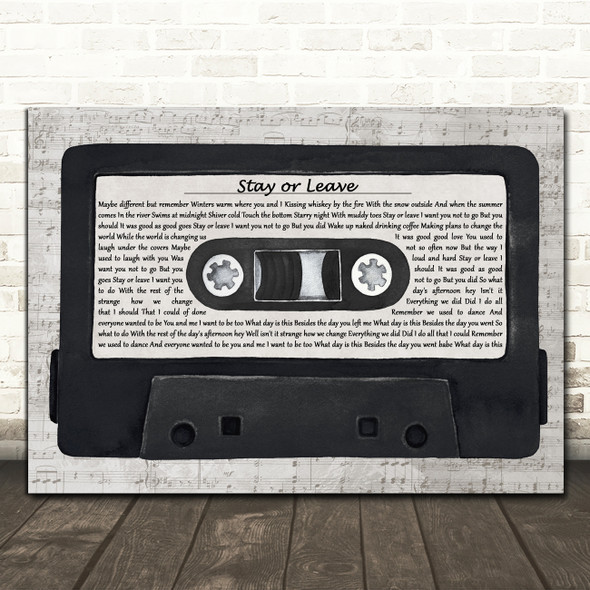 Dave Matthews Stay or Leave Music Script Cassette Tape Decorative Gift Song Lyric Print