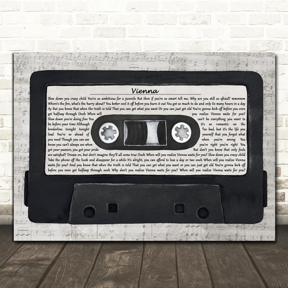 Billy Joel Vienna Music Script Cassette Tape Decorative Wall Art Gift Song Lyric Print
