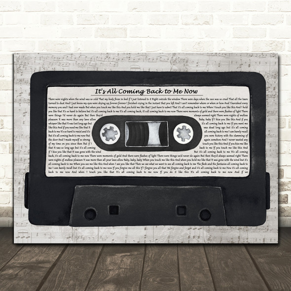 Celine Dion It's All Coming Back to Me Now Music Script Cassette Tape Song Lyric Print