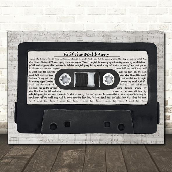 Oasis Half The World Away Music Script Cassette Tape Decorative Gift Song Lyric Print