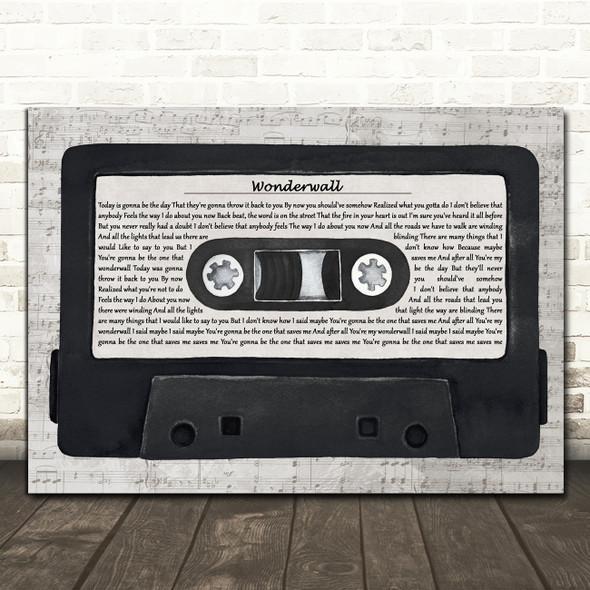 Oasis Wonderwall Music Script Cassette Tape Decorative Wall Art Gift Song Lyric Print