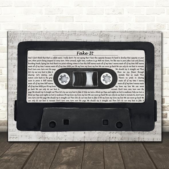 Bastille Fake It Music Script Cassette Tape Decorative Wall Art Gift Song Lyric Print