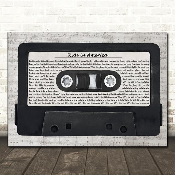 Kim Wilde Kids in America Music Script Cassette Tape Decorative Gift Song Lyric Print