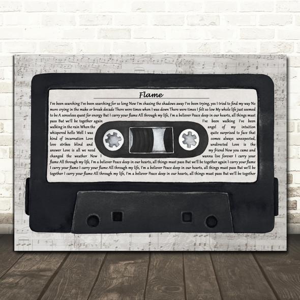Alphaville Flame Music Script Cassette Tape Decorative Wall Art Gift Song Lyric Print