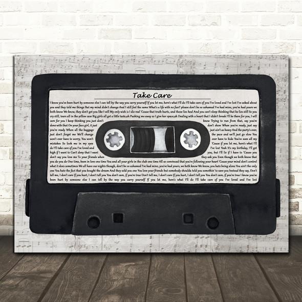 Drake Take Care Music Script Cassette Tape Decorative Wall Art Gift Song Lyric Print