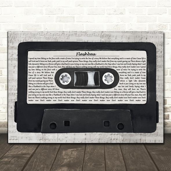 Oasis Flashbax Music Script Cassette Tape Decorative Wall Art Gift Song Lyric Print