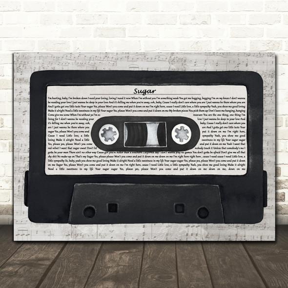 Maroon 5 Sugar Music Script Cassette Tape Decorative Wall Art Gift Song Lyric Print