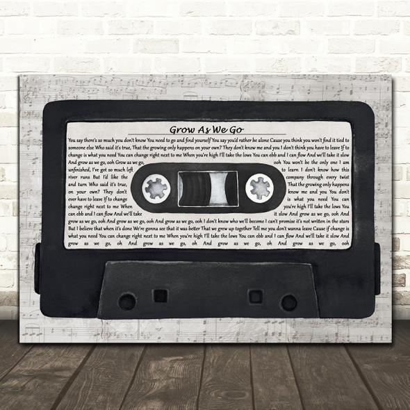 Ben Platt Grow As We Go Music Script Cassette Tape Decorative Gift Song Lyric Print