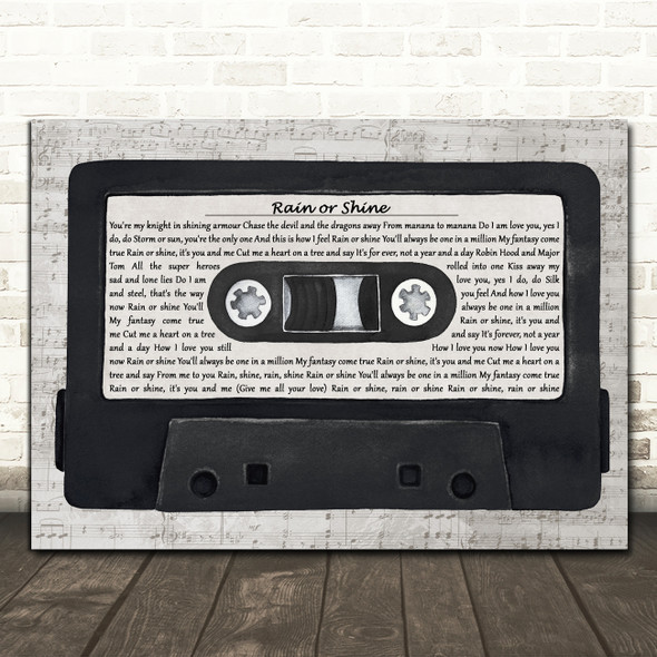 Five Star Rain or Shine Music Script Cassette Tape Decorative Gift Song Lyric Print