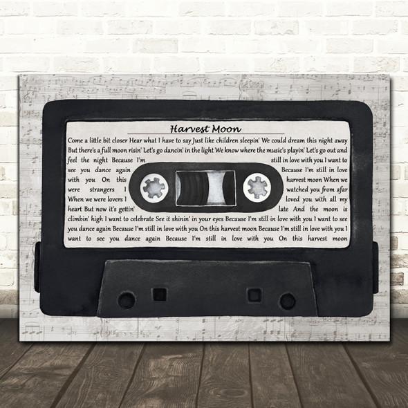 Neil Young Harvest Moon Music Script Cassette Tape Decorative Gift Song Lyric Print