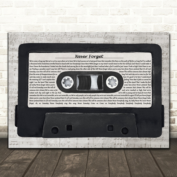 Take That Never Forget Music Script Cassette Tape Decorative Gift Song Lyric Print