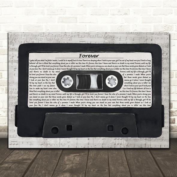 Kiss Forever Music Script Cassette Tape Decorative Wall Art Gift Song Lyric Print