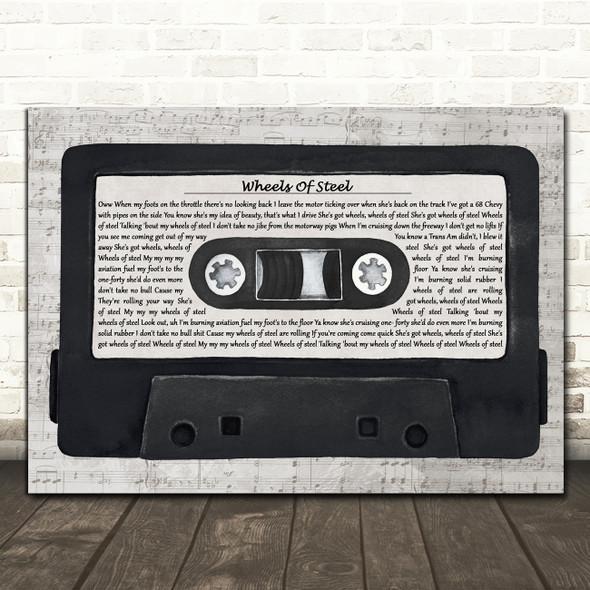 Saxon Wheels Of Steel Music Script Cassette Tape Decorative Gift Song Lyric Print