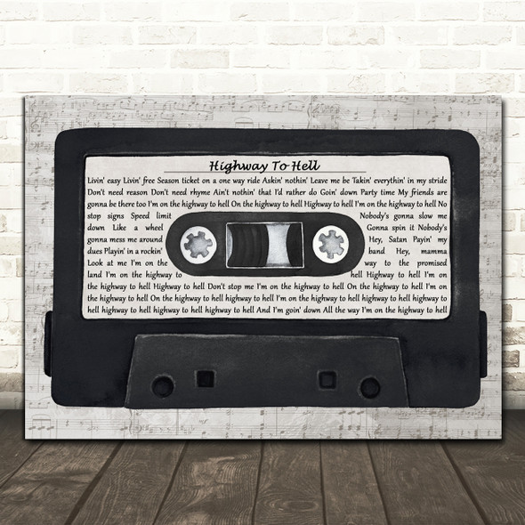 ACDC Highway To Hell Music Script Cassette Tape Decorative Gift Song Lyric Print