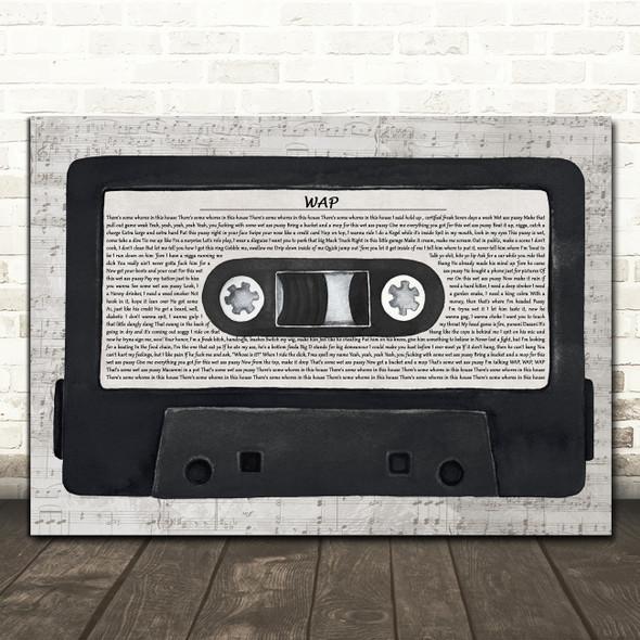 Cardi B WAP Music Script Cassette Tape Decorative Wall Art Gift Song Lyric Print
