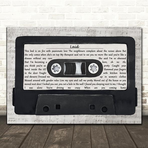 James Laid Music Script Cassette Tape Decorative Wall Art Gift Song Lyric Print