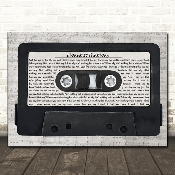 Backstreet Boys I Want It That Way Music Script Cassette Tape Song Lyric Print