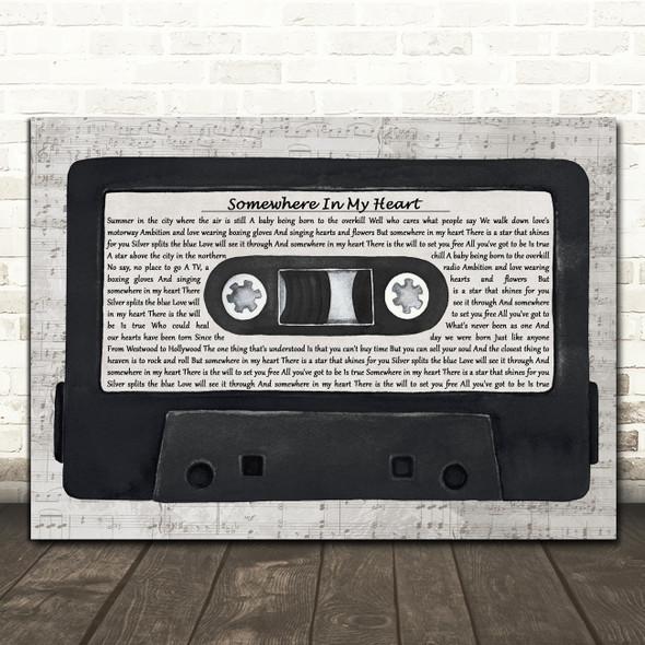 Aztec Camera Somewhere In My Heart Music Script Cassette Tape Song Lyric Print