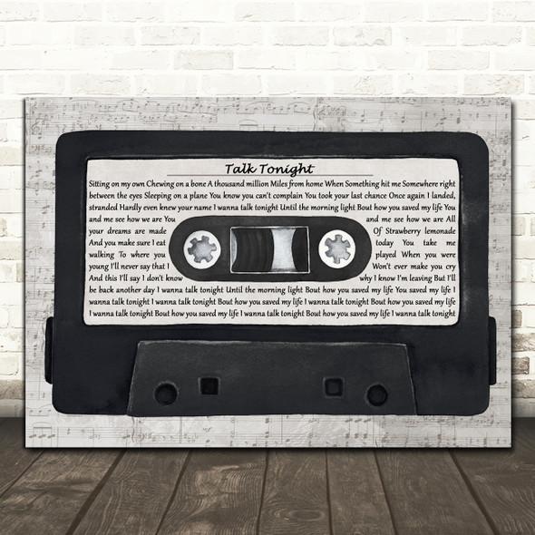 Oasis Talk Tonight Music Script Cassette Tape Decorative Gift Song Lyric Print