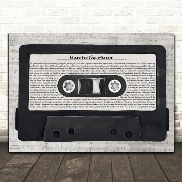 Michael Jackson Man In The Mirror Music Script Cassette Tape Song Lyric Print