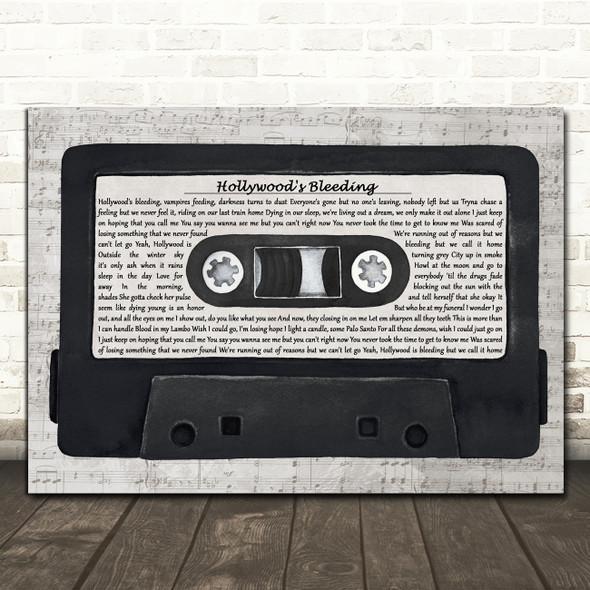 Post Malone Hollywood's Bleeding Music Script Cassette Tape Song Lyric Print
