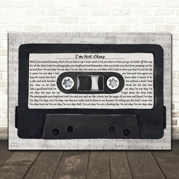 My Chemical Romance I'm Not Okay Music Script Cassette Tape Song Lyric Print