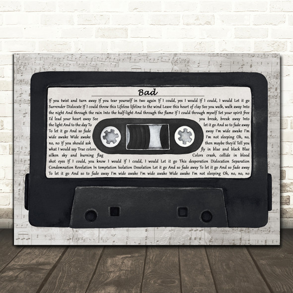 U2 Bad Music Script Cassette Tape Decorative Wall Art Gift Song Lyric Print