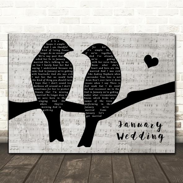 The Avett Brothers January Wedding Lovebirds Music Script Decorative Wall Art Gift Song Lyric Print