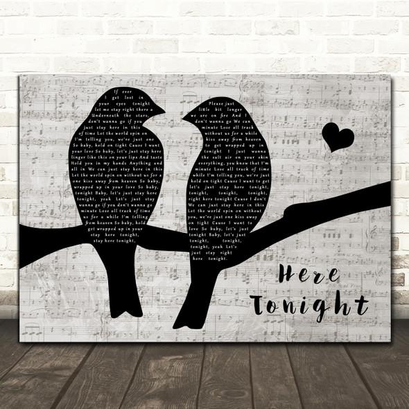 Brett Young Here Tonight Lovebirds Music Script Decorative Wall Art Gift Song Lyric Print