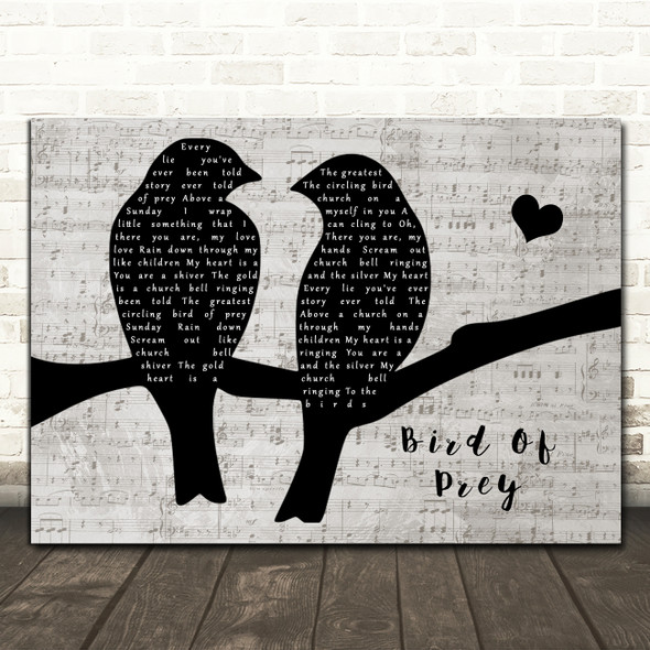 Editors Bird Of Prey Lovebirds Music Script Decorative Wall Art Gift Song Lyric Print