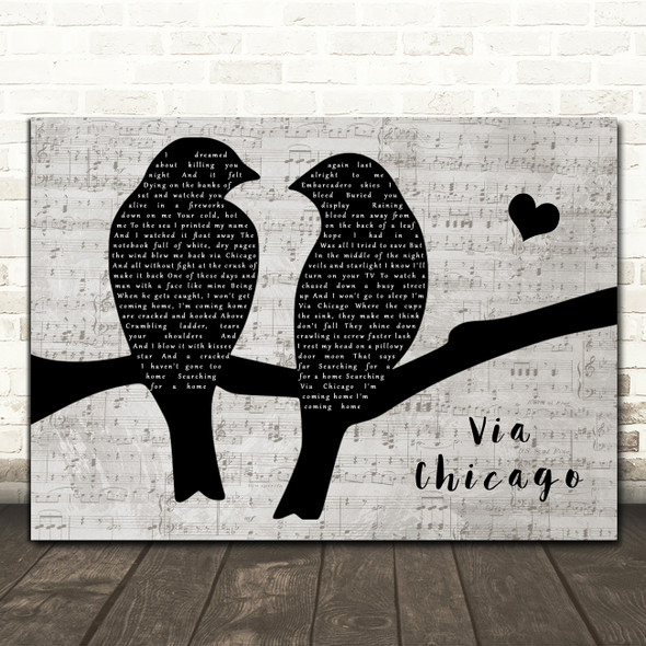 Wilco Via Chicago Lovebirds Music Script Decorative Wall Art Gift Song Lyric Print