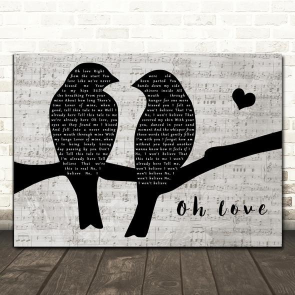 Ane Brun Oh Love Lovebirds Music Script Decorative Wall Art Gift Song Lyric Print