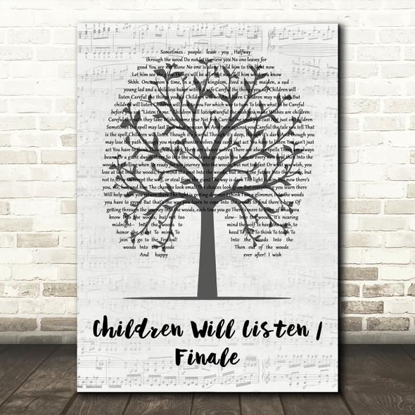 Original Broadway Cast of Into the Woods Children Will Listen, Finale Music Script Tree Song Lyric Print