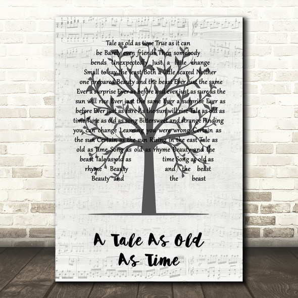 Celine Dion A Tale As Old As Time Music Script Tree Decorative Gift Song Lyric Print