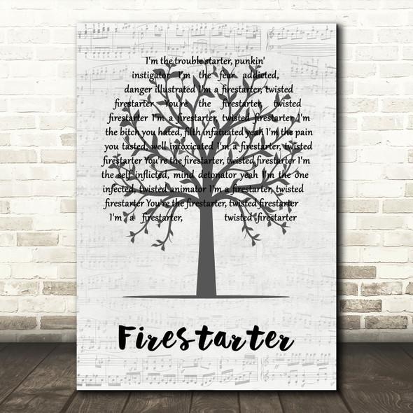 The Prodigy Firestarter Music Script Tree Decorative Wall Art Gift Song Lyric Print