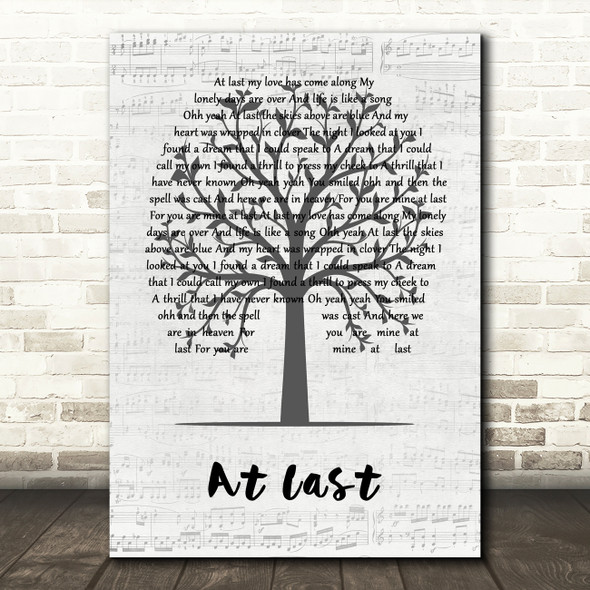Eva Cassidy At Last Music Script Tree Decorative Wall Art Gift Song Lyric Print