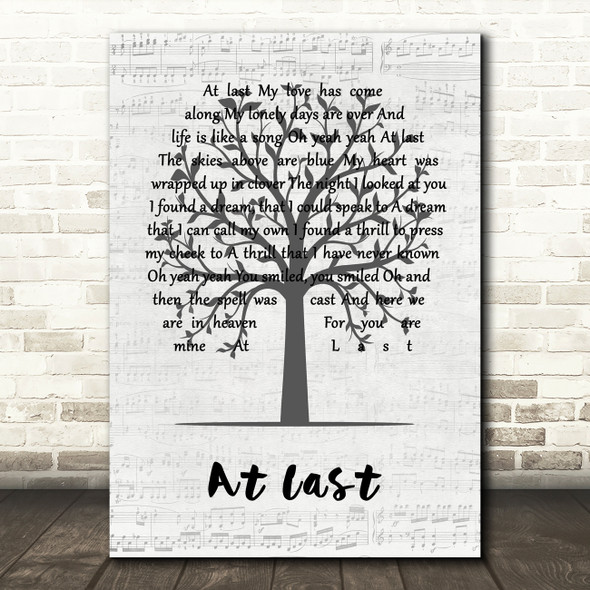 Etta James At Last Music Script Tree Decorative Wall Art Gift Song Lyric Print