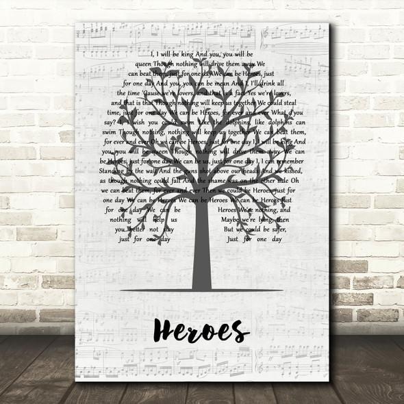 David Bowie Heroes Music Script Tree Decorative Wall Art Gift Song Lyric Print