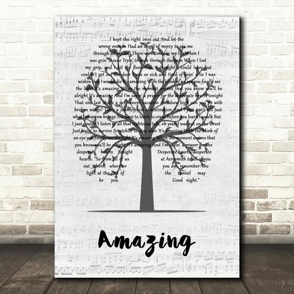 Aerosmith Amazing Music Script Tree Decorative Wall Art Gift Song Lyric Print