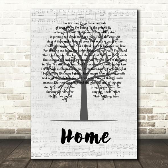 Depeche Mode Home Music Script Tree Decorative Wall Art Gift Song Lyric Print