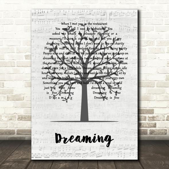 Blondie Dreaming Music Script Tree Decorative Wall Art Gift Song Lyric Print