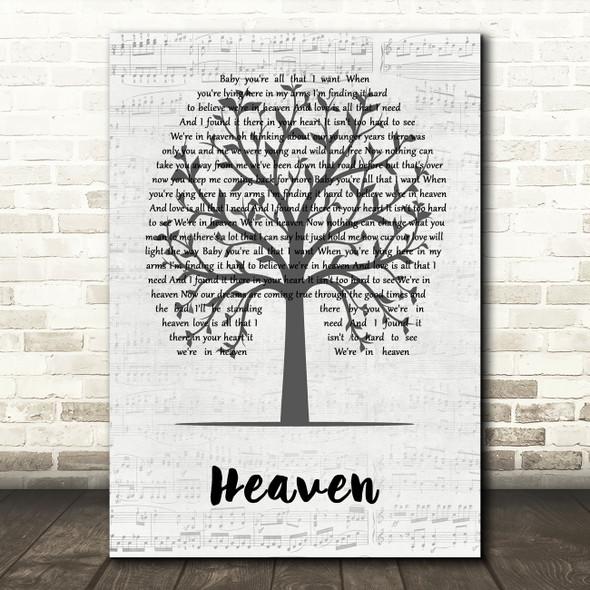 DJ Sammy Heaven Music Script Tree Decorative Wall Art Gift Song Lyric Print