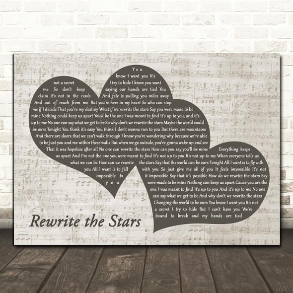 Zac Efron, Zendaya - GREATEST SHOWMAN Rewrite the Stars Landscape Music Script Two Hearts Wall Art Song Lyric Print