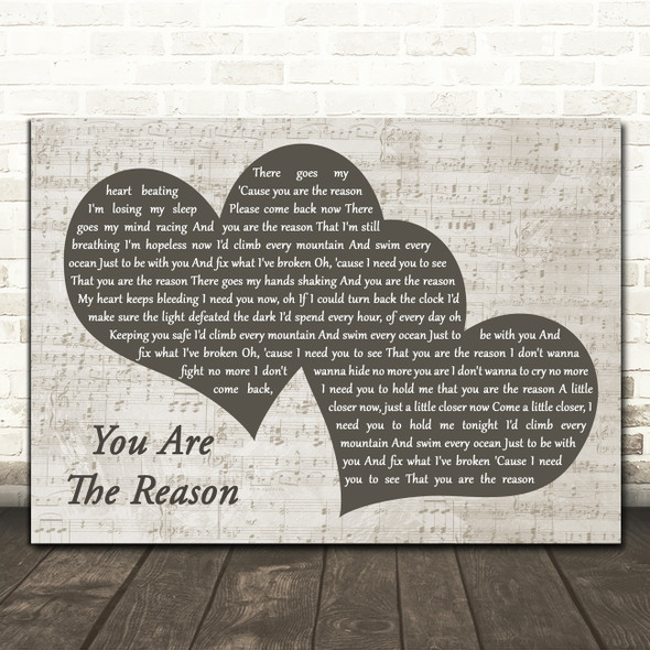 Callum Scott & Leona Lewis You Are The Reason Landscape Music Script Two Hearts Wall Art Song Lyric Print